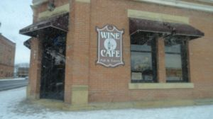 A snowy day at Mankato's Wine Cafe, the perfect place to discuss writing.